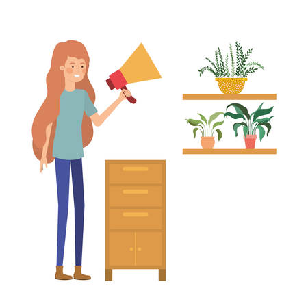 woman with wooden shelving in white background icon vector illustration design Stock Illustratie