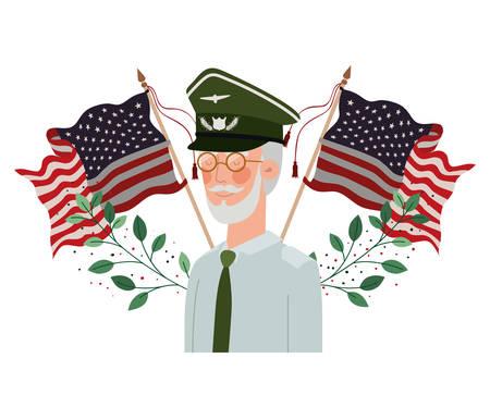 veteran war old man with flag of united states background vector illustration design Standard-Bild - 129176244