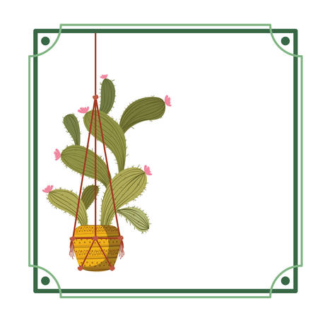 frame with cactus on macrame hangers icon vector illustration design Illustration