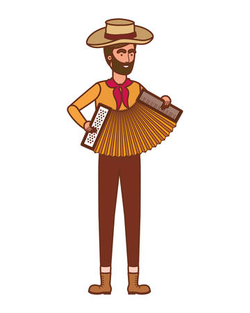 farmer man with musical instrument vector illustration design