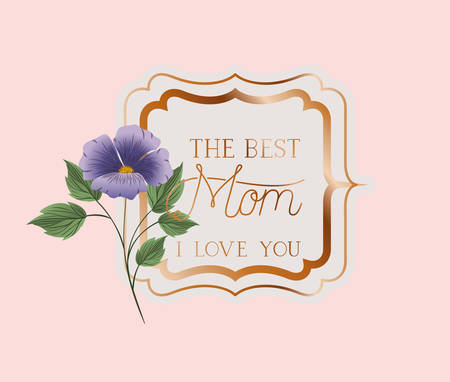 happy mothers day victorian square frame with flowers vector illustration design
