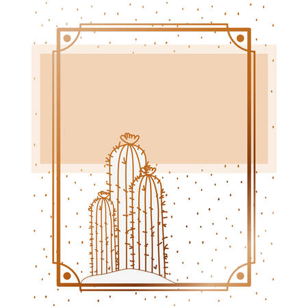pattern cactus with frame golden isolated icon vector illustration design Фото со стока - 129186571