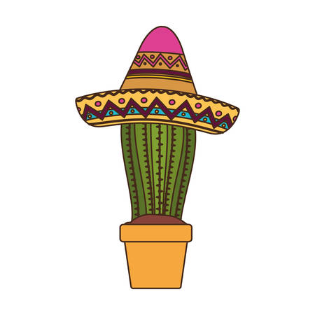 cactus with pot and mexican hat icon vector illustration design Standard-Bild - 129228073