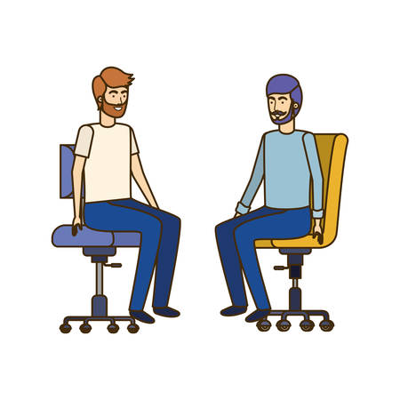 men with sitting in office chair avatar character vector illustration design Banque d'images - 129228078