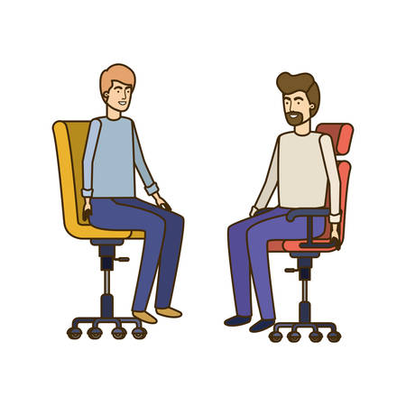 men with sitting in office chair avatar character vector illustration design Banque d'images - 129228090