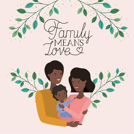 family day card with black parents and son leafs crown vector illustration design Stock Illustratie