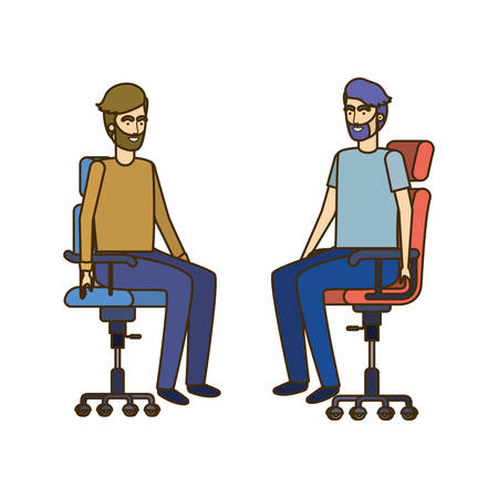 men with sitting in office chair avatar character vector illustration design Banque d'images - 129231104