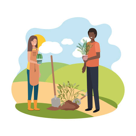 couple with trees to plant in landscape vector illustration design Иллюстрация