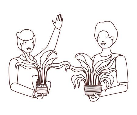 men with houseplant avatar character vector illustration design