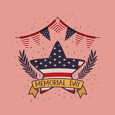 star with wreath and usa flag of memorial day emblem vector illustration design