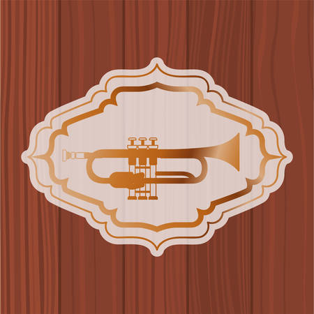 music trumpet in frame with wooden background vector illustration design Иллюстрация