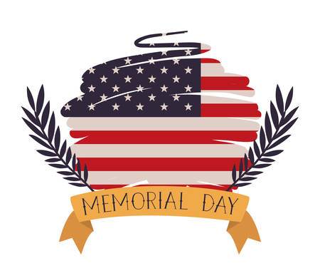 usa flag painted with wreath of memorial day emblem vector illustration design