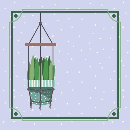 frame with houseplant hanging in macrame vector illustration design Çizim