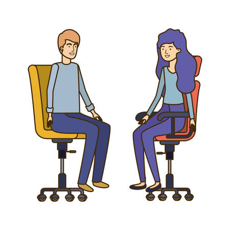 couple with sitting in office chair avatar character vector illustration design Banque d'images - 129231912