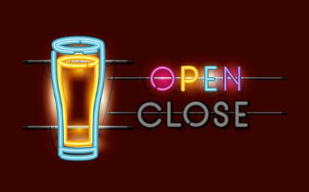 beer glass neon light vector illustration design Ilustração