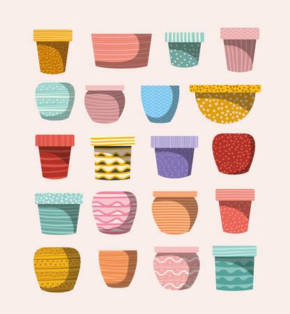 set of macrame pots vector illustration design