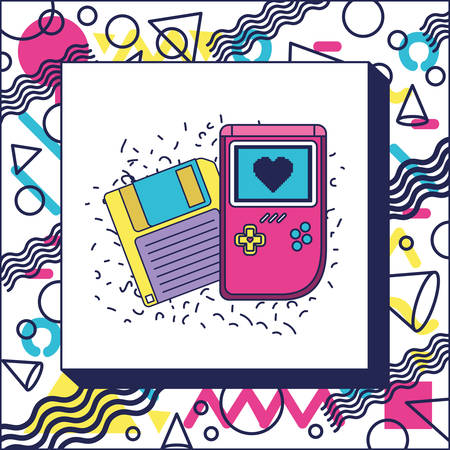 retro floppy disk with handle video game vector illustration design
