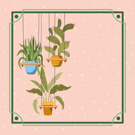 frame with houseplants hanging in macrame vector illustration design