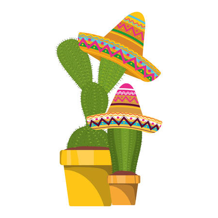 cactus with pot and mexican hat icon vector illustration design Фото со стока - 129227717