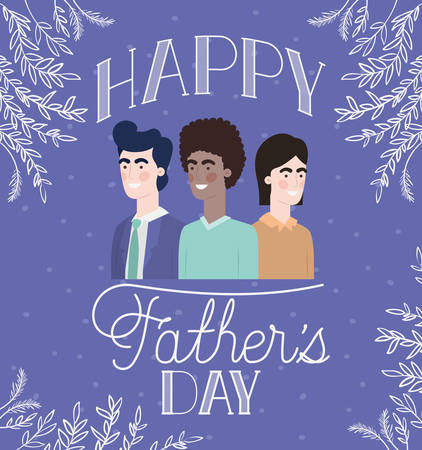 happy fathers day card with dads and leafs plant vector illustration design Stockfoto - 129228039