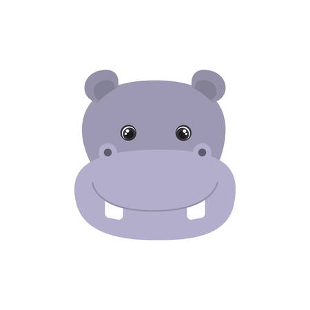 head of hippo for baby card with white background vector illustration design Foto de archivo - 129228138