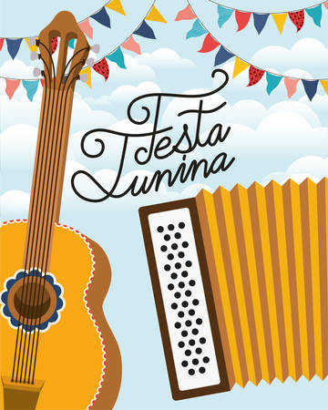 festa junina with guitar and accordion instruments vector illustration design