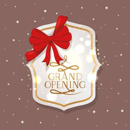 elegant golden frame with ribbon and grand opening message vector illustration Иллюстрация