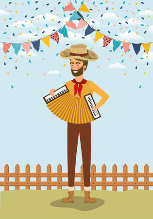 young farmer playing accordion with garlands and fence vector illustration design Banque d'images - 129228284