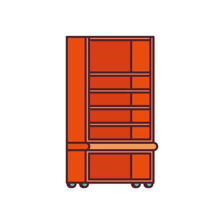 wooden bookshelf on white background vector illustration design Иллюстрация