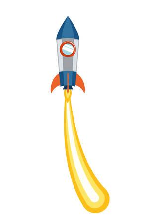 rocket taking off in white background vector illustration design