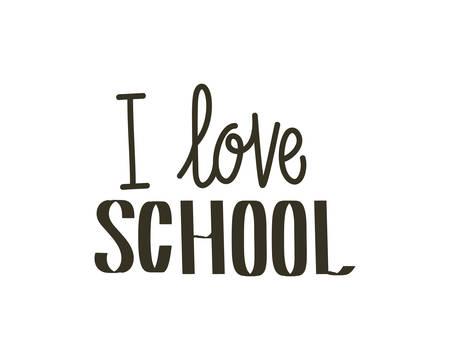 i love school label on white background vector illustration design Stockfoto - 129228317