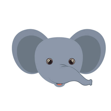 head of elephant for baby card with white background vector illustration design