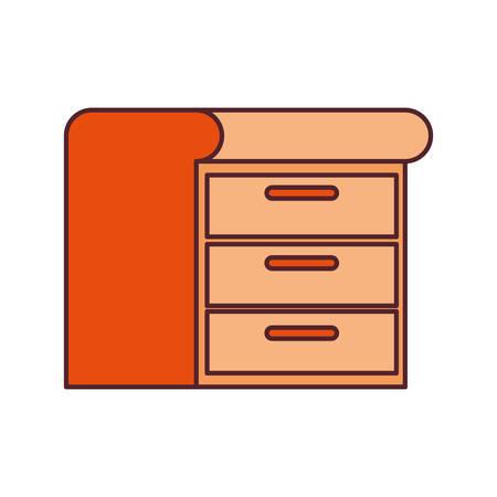 wooden shelving in white background icon vector illustration design Stock Illustratie