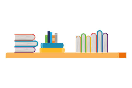 shelving with books in white background vector illustration design Иллюстрация