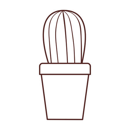 silhouette of cactus with potted isolated icon vector illustration design Çizim