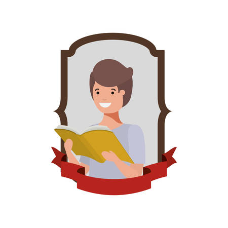 frame with student boy and reading book vector illustration design Banque d'images - 129228792