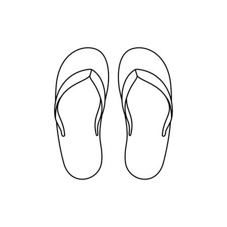 striped beach sandals on white background vector illustration design