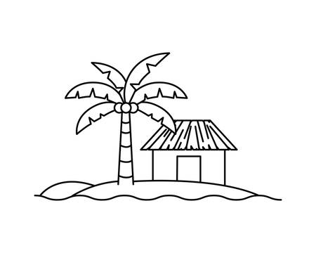 silhouette of house on the beach with white background vector illustration design Standard-Bild - 129232549