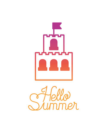 hello summer label with colorful image vector illustration design