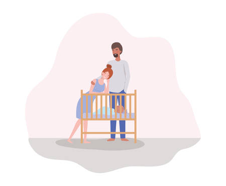 parents taking care of newborn baby with cradle vector illustration design