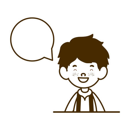 silhouette of student boy smiling with speech bubble vector illustration design Ilustracja