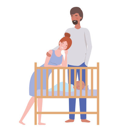 woman and man with newborn baby in the crib vector illustration design