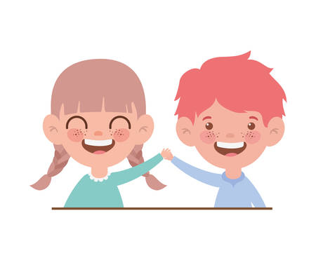 couple baby smiling on white background vector illustration design