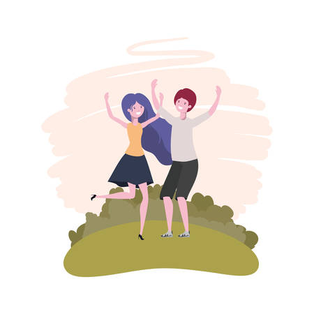 couple dancing in landscape with trees and plants vector illustration design Standard-Bild - 129233756