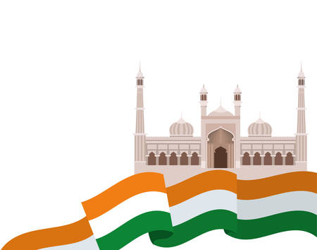 celebration of Indian independence day with flag vector illustration design Zdjęcie Seryjne - 129255062