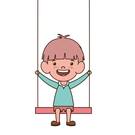 baby boy in swing smiling on white background vector illustration design