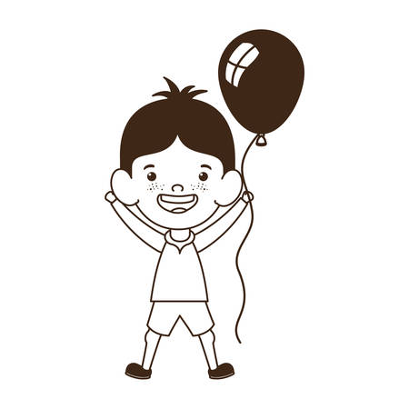 silhouette of baby boy smiling with helium balloon in hand vector illustration design Ilustracja
