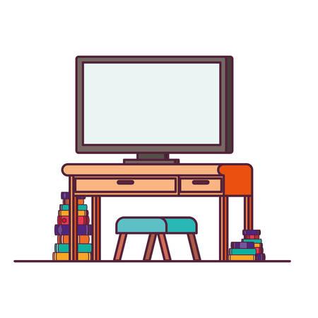 plasma tv in wooden shelf with books vector illustration design