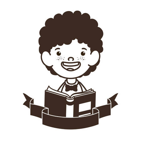 silhouette of student boy with school supplies vector illustration design