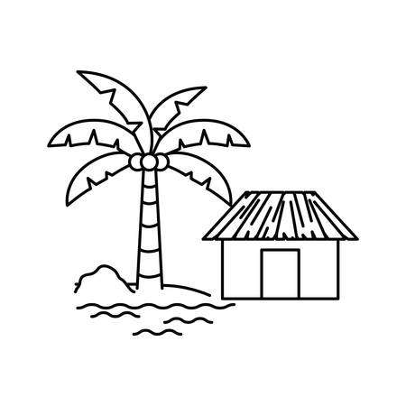 silhouette of house on the beach with white background vector illustration design Standard-Bild - 129233768